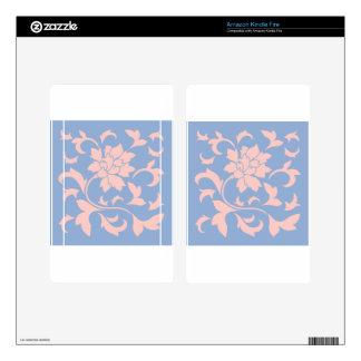 Oriental Flower - Rose Quartz & Serenity Blue Kindle Fire Decal