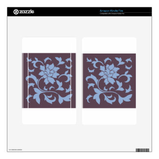 Oriental Flower - Serenity Blue & Cherry Chocolate Kindle Fire Decal