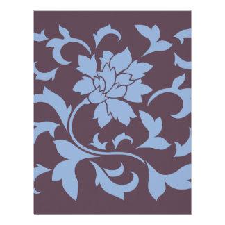 Oriental Flower - Serenity Blue & Cherry Chocolate Letterhead