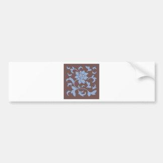 Oriental Flower - Serenity Blue & Chocolate Bumper Sticker