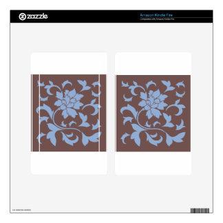 Oriental Flower - Serenity Blue & Chocolate Kindle Fire Skins