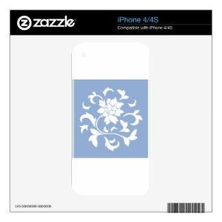 Oriental Flower - Serenity Blue Circular Pattern iPhone 4S Decals