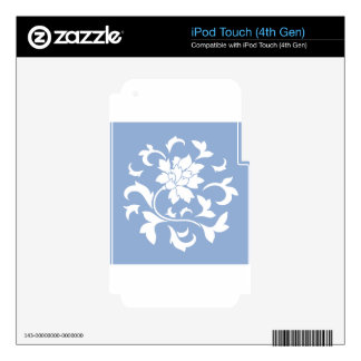 Oriental Flower - Serenity Blue Circular Pattern iPod Touch 4G Decals