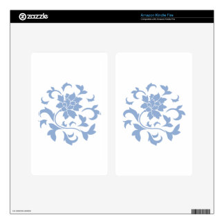 Oriental Flower - Serenity Blue Circular Pattern Skins For Kindle Fire