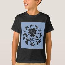 Oriental Flower - Serenity Blue Circular Pattern T-Shirt