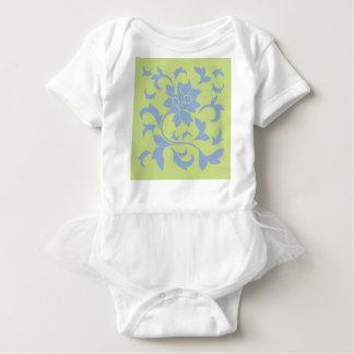 Oriental Flower - Serenity Blue & Daiquiri Green Baby Bodysuit