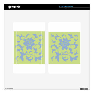 Oriental Flower - Serenity Blue & Daiquiri Green Decal For Kindle Fire