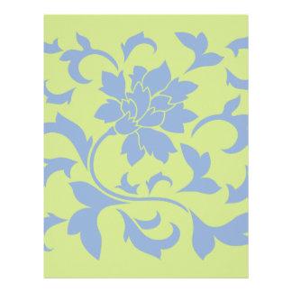 Oriental Flower - Serenity Blue & Daiquiri Green Letterhead
