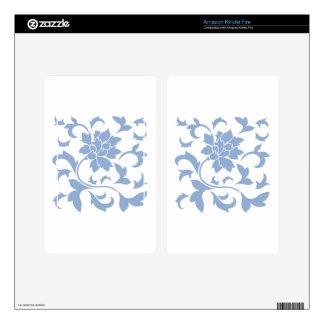 Oriental Flower - Serenity Blue Skins For Kindle Fire