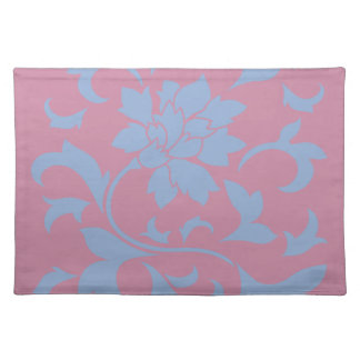Oriental Flower - Serenity Blue & Strawberry Cloth Placemat