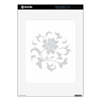 Oriental Flower - Silver Circular Pattern iPad Decals