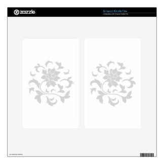 Oriental Flower - Silver Circular Pattern Kindle Fire Decals