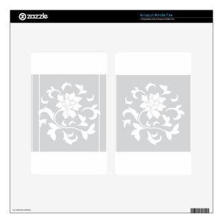 Oriental Flower - Silver Circular Pattern Kindle Fire Skin