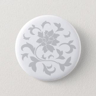 Oriental Flower - Silver Circular Pattern Pinback Button