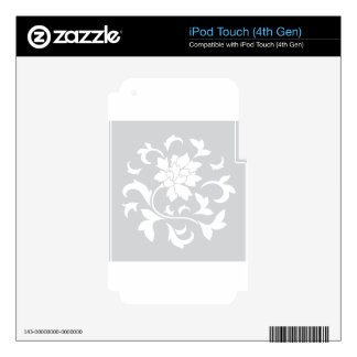 Oriental Flower - Silver Circular Pattern Skin For iPod Touch 4G
