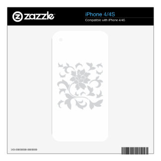 Oriental Flower - Silver Decals For The iPhone 4