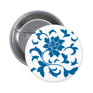 Oriental Flower - Snorkel Blue Button