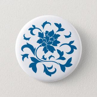 Oriental Flower - Snorkel Blue Circular Pattern Button