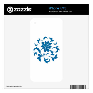 Oriental Flower - Snorkel Blue Circular Pattern iPhone 4 Decal