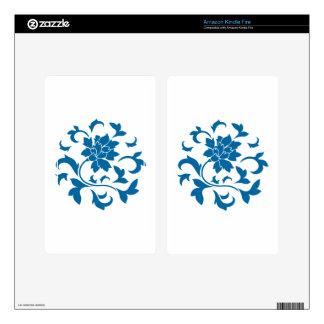 Oriental Flower - Snorkel Blue Circular Pattern Kindle Fire Skin