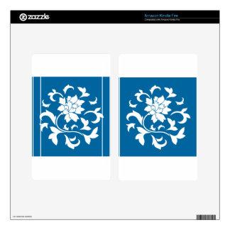 Oriental Flower - Snorkel Blue Circular Pattern Skins For Kindle Fire