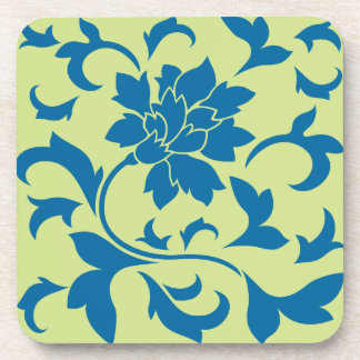 Oriental Flower - Snorkel Blue & Daiquiri Green Drink Coaster