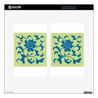 Oriental Flower - Snorkel Blue & Daiquiri Green Kindle Fire Decals