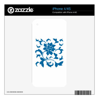Oriental Flower - Snorkel Blue Decal For The iPhone 4