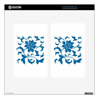 Oriental Flower - Snorkel Blue Kindle Fire Skins
