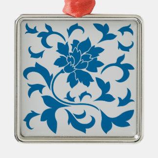 Oriental Flower - Snorkel Blue & Silver Metal Ornament