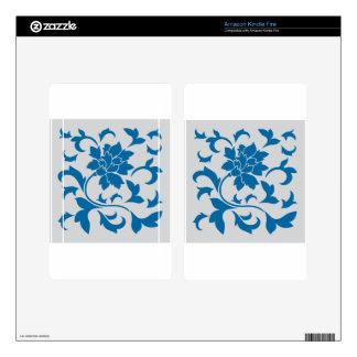 Oriental Flower - Snorkel Blue & Silver Skins For Kindle Fire