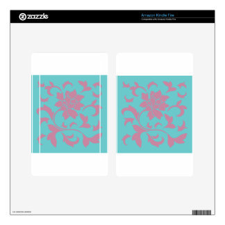 Oriental Flower - Strawberry & Pure Turquoise Kindle Fire Decals