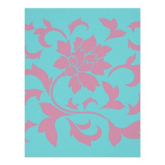 Oriental Flower - Strawberry & Pure Turquoise Letterhead
