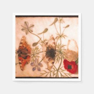 Oriental flowers and butterflies napkin