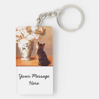 Oriental flowers and butterflies with cat Double-Sided rectangular acrylic keychain