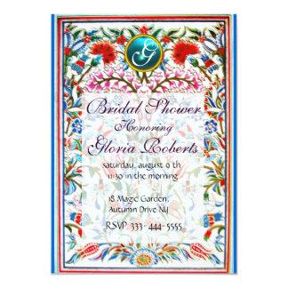 ORIENTAL  FLOWERS DAMASK MONOGRAM Blue Aquamarine Card