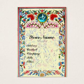 ORIENTAL  FLOWERS DAMASK MONOGRAM Blue Cream Business Card