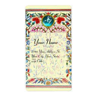 ORIENTAL  FLOWERS DAMASK MONOGRAM Blue Cream Label