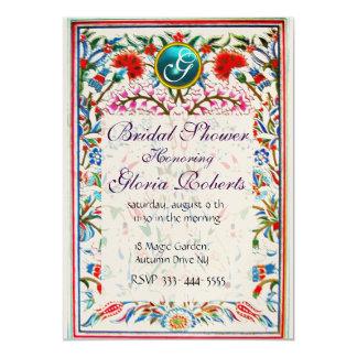 ORIENTAL  FLOWERS DAMASK MONOGRAM Blue Gold 5x7 Paper Invitation Card