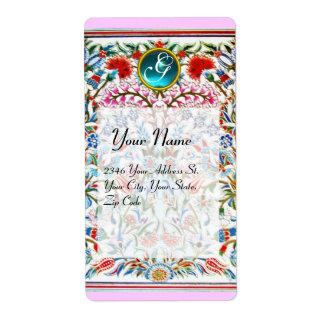 ORIENTAL  FLOWERS DAMASK MONOGRAM Blue Pink Label