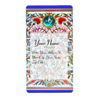 ORIENTAL  FLOWERS DAMASK MONOGRAM Blue Red Label