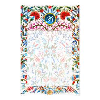 ORIENTAL  FLOWERS DAMASK MONOGRAM Blue Sapphire Stationery