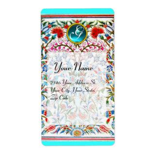 ORIENTAL  FLOWERS DAMASK MONOGRAM Blue Turquase Label