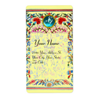 ORIENTAL  FLOWERS DAMASK MONOGRAM Blue Yellow Label
