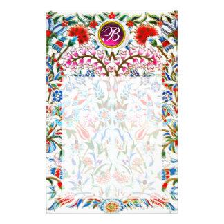 ORIENTAL  FLOWERS DAMASK MONOGRAM Pink Amethyst Stationery