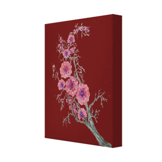 Oriental Flowers Stretched Canvas Print