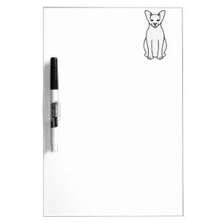 Oriental Foreign White Cat Cartoon Dry Erase Board