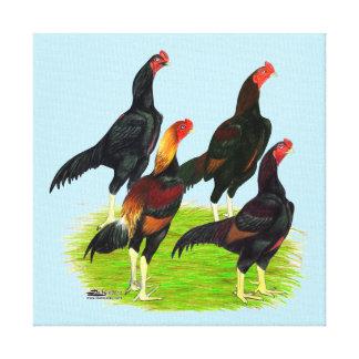 Oriental Game Fowl Quartet Canvas Print