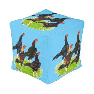 Oriental Game Fowl Quartet Cube Pouf