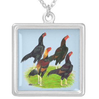 Oriental Game Fowl Quartet Silver Plated Necklace